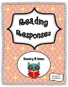Reading Responses ~ 2nd-5th Grade