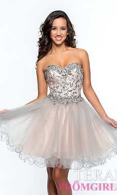 Strapless Sweetheart Prom Dress with Sequin Detailing by Terani at PromGirl.com