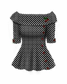 Very pretty - Blueberry Hill Fashions : Rockabilly Retro Button Cherry Top.i LOve ima dying Retro Vintage, Vintage Mode, Vintage Looks, Rockabilly Fashion, Retro Fashion, Vintage Fashion, Womens Fashion, Rockabilly Shoes, Rockabilly Style