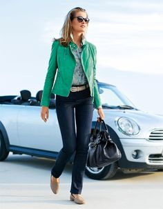Leather jacket in the color mint - green - in the MADELEINE online collection