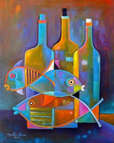 Cubist painting Abstract modernist Original artwork still life Fish Wine Marlina Vera Fine Fine Art Cubism Fauve Cubiste Poisson Eames style Cubist Paintings, Cubist Art, Nature Paintings, Abstract Art, Original Paintings, Original Artwork, Wine Painting, Fish Art, Fine Art Gallery