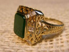 Fabulous Vintage Nephrite Jade Ring in 10K Yellow Gold