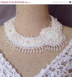 ON SALE Bead Embroidered Wedding Collar  Opalite by bjswearableart, $105.00