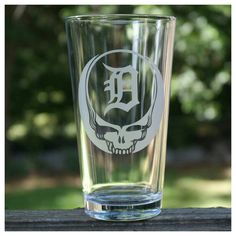 Detroit Tigers Steal Your Face Etched Pint Glass Etsy listing at https://www.etsy.com/listing/233321005/sandblasted-pint-glasses-grateful-dead