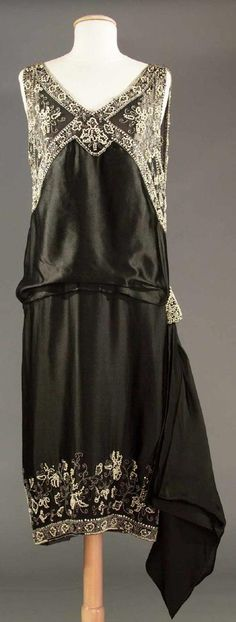 Lot: ONE BLUE & ONE BLACK EVENING DRESS, 1920s, Lot Number: 0025, Starting Bid: $150, Auctioneer: Robert Ross, Auction: COUTURE, HISTORIC & VINTAGE CLOTHING AUCTION, Date: May 10th, 2017 AEST