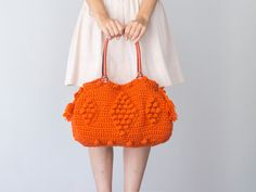 BAG // Orange Bag Orange Tote Summer Leather Bag por Sudrishta