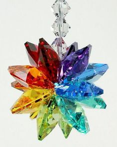 Rainbow Colored Starburst Crystal Suncatcher