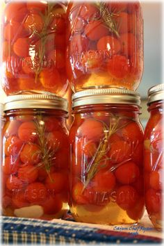 Pickled 'Sweet 100' Grape Tomatoes this is good with some sugar added to the brine...too tangy for me as written.