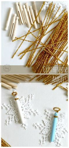Beautiful Clothespin Angel Ornaments, great for a tree full of angels, to pass out as gifts, and to add on the top of presents for something special. Takes mere minutes to make