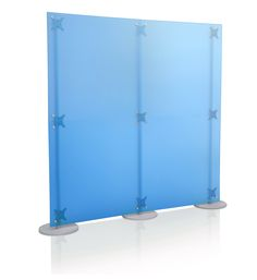 Blue partition screen, made of colorful plexi, glamour idea to create a blind wall between the reception and the working space