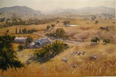 Northern California landscape by Frank Eber.  The creation of depth and the rolling topography is simply divine in this mostly warm toned watercolor painting!