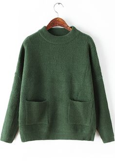 Pocket Design Long Sleeve Green Sweater