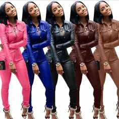5 color S-XXXL Winter Overalls PU Leather shirt+Pencil pant tracksuit fashion sexy women set two pieces Jumpsuit casual Outfits Legging Outfits, Leder Outfits, Bodycon Jumpsuit, Casual Jumpsuit, Faux Leather Jackets, Leather Pants, Pu Leather, Leather Fashion, Two Piece Jumpsuit