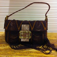 Beaded Fendi Baguette: Notice the Baroque-esque Logo detail that looks like a picture frame