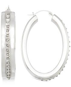 Diamond Accent Hoop Earrings in 14k White Gold-Plated Resin