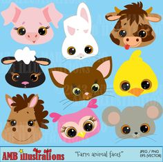 Farm animal faces - adorable clipart for card making, crafts and Cow Clipart, Felt Hair Accessories, Farm Animal Party, Pretty Drawings, Art Drawings, Kawaii Illustration, Animal Cards, Felt Animals, Digital Stamps