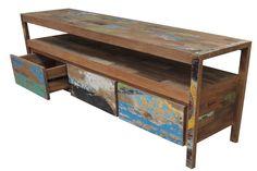 Meuble TV fabriqué en vieux bois de bateau multicolore de la collection Factory