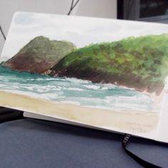 Aquarela Plein air na Praia do sono - Paraty - RJ. Pentalic sketchbook. #pleinair #paraty #parati #watercolor #aquarela #pentalicsketchbook #pentalic #sketchbook