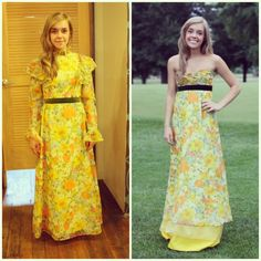 vintage prom dress before and after- this is waaaayyy beyond my skills but I'm just so impressed with this remake that I have to pin it!