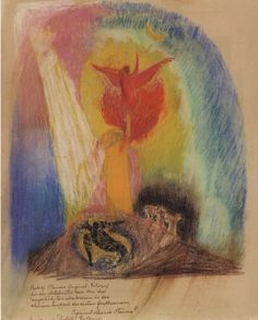 Pastel drawing by Rudolf Steiner - Christ between Lucifer and Ahriman