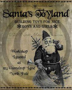 Old Fashioned Christmas, Christmas Past, Vintage Christmas, Christmas Signs, Primitive Country Christmas, Primitive Santa, Vintage Labels, Vintage Signs, Vintage Stuff