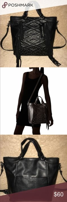 French Connection Cassidy Black Tote CONDITION: Like new, never worn & shows no visible signs of wear. DESCRIPTION: Faux leather Tote bag from French Connection. Features a chic design with dangling fringe, stitched accents embellished with studs, top handles for easy hand toting, & a removable strap that can be carried over the shoulder or slung across the body. This versatile handbag secures with a top zipper closure & features a relaxed silhouette that makes it the perfect addition to any…