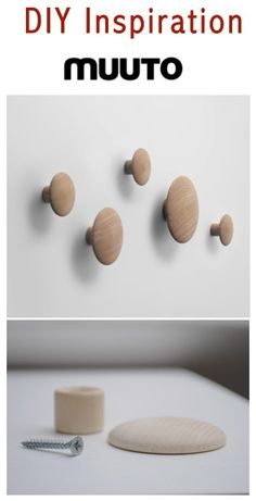 DIY Muuto The Dots -- tutorial on (Diy Candles) Muuto, Ideias Diy, Diy Holz, Kids Wood, Design Blog, Diy Interior, Interior Design, Coat Hooks, Coat Hanger