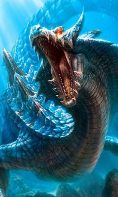 If you have been a part of a deliverance ministry you are familiar with the spirit of leviathan characteristics. The Bible speaks of Leviathan and marine spirits as a strong spirits that rule the waters. Mythical Creatures Art, Fantasy Creatures, Sea Creatures, Monster Hunter 3 Ultimate, Monster Hunter 3rd, Dragon Mobile, Cry Anime, Anime Art, Beast