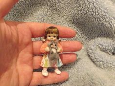 Miniature handmade BABY GIRL TODDLER & KITTEN CAT ooak DOLLHOUSE ARTIST DOLL