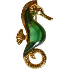 Rare Signed Trifari Jelly Belly Large Seahorse Brooch
