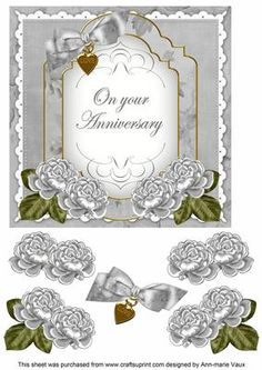 Silver Rose Anniversary Fancy 7in Decoupage Topper on Craftsuprint - Add To Basket!