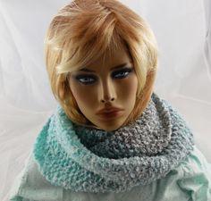 "NEW handmade knit COWL INFINITY SCARF Boucle Yarn/Turquoise/white/gray 64X9"" #Handmade #CowlInfinity"