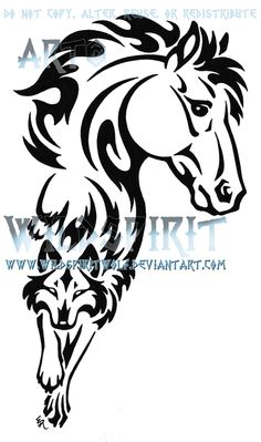 Tribal Horse n Wolf Tattoo Design Más Wolf Tattoo Design, Tattoo Designs, Wolf Design, Tattoo Ideas, Tribal Drawings, Horse Drawings, Horse Head Drawing, Tribal Horse Tattoo, Tribal Tattoos