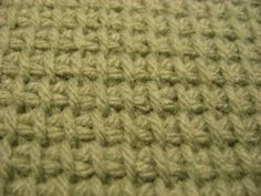 Tunisian Knit stitch close up, link to an explanation of Tunisian Crochet