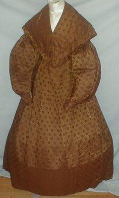 Rare 1830's Printed Silk Dress w/ Pelerine/Collar