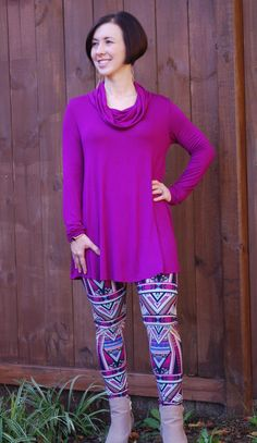 Plum,Teal and Navy Pattern Printed Leggings