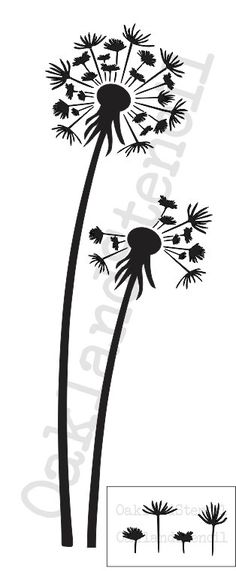 "#Dandelion STENCIL*Tall Dandelions and seeds*10""x24""for Painting Signs, Walls, Canvas, Wood, Fabric, Airbrush, Crafts, Scrapbooks, DIY Flower"
