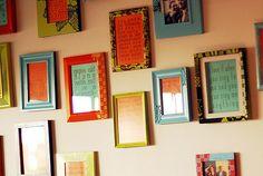 wall of framed song lyrics