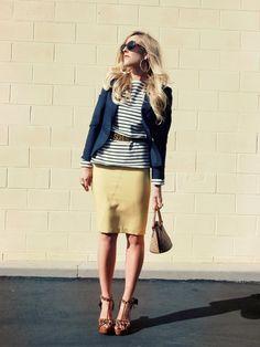 blazer + stripes + pencil skirt