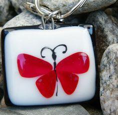 Hermosas mariposas, llave vidrio fusión, accesorios mujer y adolescente