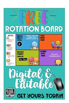 Yes! This is totally free and awesome! It's editable too so that you can change it to meet the needs of your classroom! This is great to help you set up your math or ELA workshop! It helps you organize your time with a rotation chart that can help build independence in your learners! Grab up this cool freebie and read about getting started with a digital rotation chart!
