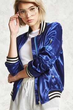 This satin bomber jacket features varsity striping at the collar, sleeve cuffs, and hem, a zipper front, long sleeves with ruched sides, an on-sleeve zip utility pocket, and snap-buttoned front slip pockets.<p>- This is an independent brand and not a Forever 21 branded item.</p>
