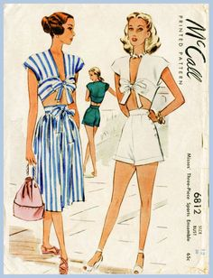 1940s 40s vintage playsuit sewing pattern crop top skirt high waisted shorts beach romper bust 30 b30 English & French Instructions repro
