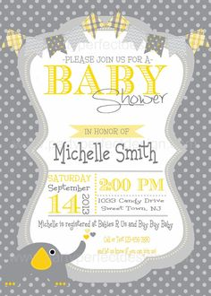 Yellow and Gray Elephant Baby Shower por Partyperfectdesign en Etsy