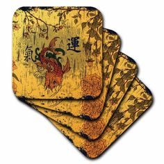 3dRose A Orange and Red Oriental Fish With Oriental Writing Meaning Luck and Energy, Ceramic Tile Coasters, set of 4