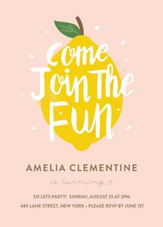 birthday party invitations - Lemonade Fun by Joanne Williams
