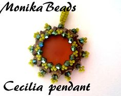 Cecilia pendant with 2hole Crescent beads and Pinch beads