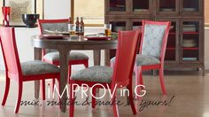 A modern mix of red and gray. iMPROV collection table and wall unit; Open Seating chairs. #somertondwelling Available online. somerton-dwelling