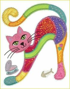 16 Ideas Embroidery Cat Pattern Manualidades For 2019 Applique Patterns, Applique Quilts, Applique Designs, Embroidery Applique, Quilt Patterns, Machine Embroidery, Embroidery Designs, Embroidery Patches, Quilt Baby
