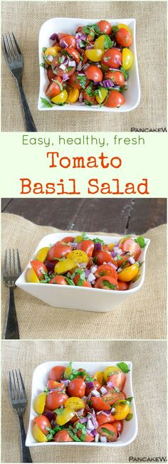 Tomato Basil Salad recipe - this easy, healthy salad will quickly become one of your favorite recipes! Full of flavor and fresh veggies! Vegan, gluten free, low fat, easy healthy recipe.